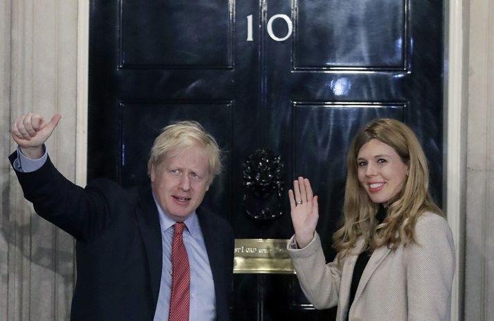 Boris Johnson og unnusta hans Carrie Symonds.
