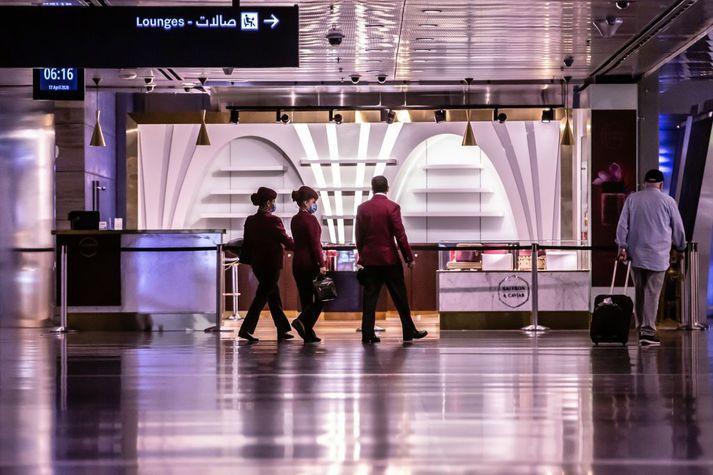 Frá Hamad-alþjóðaflugvellinum í Doha.