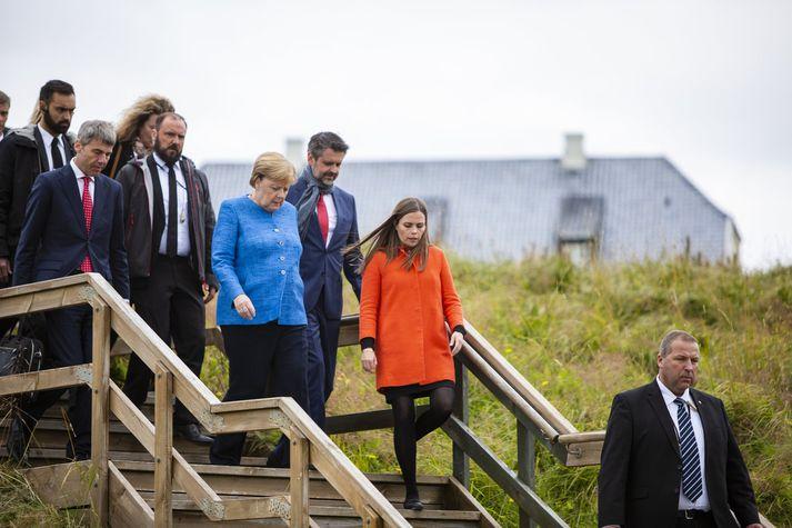 Katrín Jakobsdóttir forsætisráðherra og Angela Merkel Þýskalandskanslari í Viðey í gær.