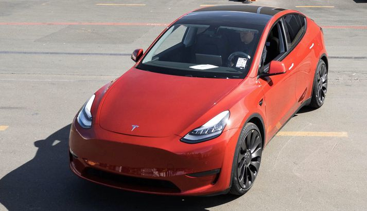Þetta eintak af Tesla Model Y var milljónasti bíll úr framleiðslu Tesla.