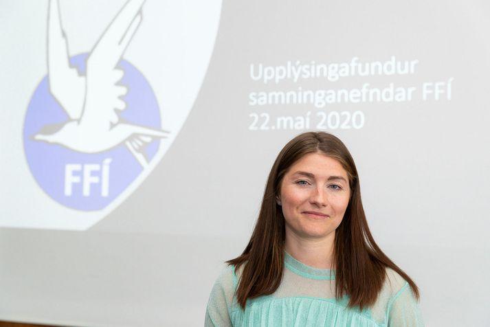 Upplýsingafundur FFÍ vegna kjaradeilna við Icelandair. Guðlaug Líney Jóhannsdóttir, sitjandi formaður Flugfreyjufélags Íslands.