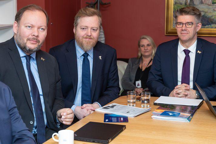 Bergþór Ólason, Sigmundur Davíð Gunnlaugsson og Gunnar Bragi Sveinsson, þingmenn Miðflokksins.
