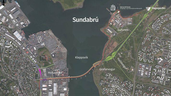 Teikning af vef ráðuneytisins sem sýnir Sundabrú eins og lagt er til að hún muni liggja í Kleppsvík.
