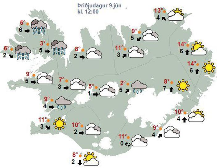 Spákort Veðurstofunnar fyrir hádegisbilið í dag.