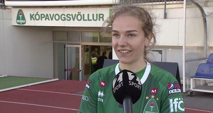 Áslaug Munda Gunnlaugsdóttir skoraði tvö mörk fyrir Breiðablik í stórsigrinum í gær.