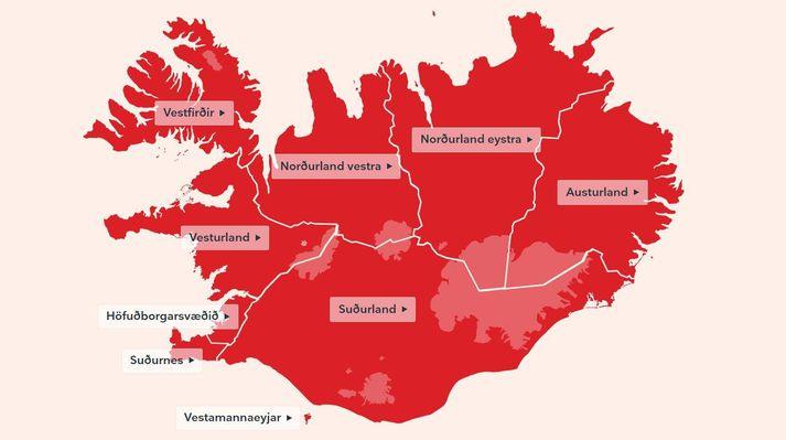 Ísland er rautt í dag sem svarar til alvarlegs ástands á landinu.