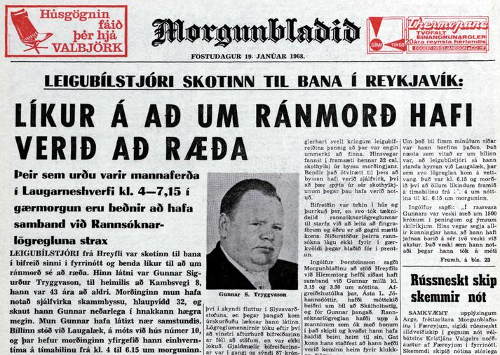 Frétt Morgunblaðsins þann 19. janúar 1968.