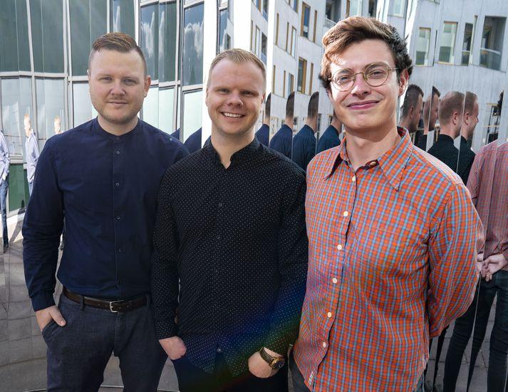 Ásgeir Vísir Jóhannsson hönnuður, Davíð Örn Símonarson framkvæmdastjóri og Magnús Ólafsson tæknistjóri standa á bak við stefnumótaforritið.