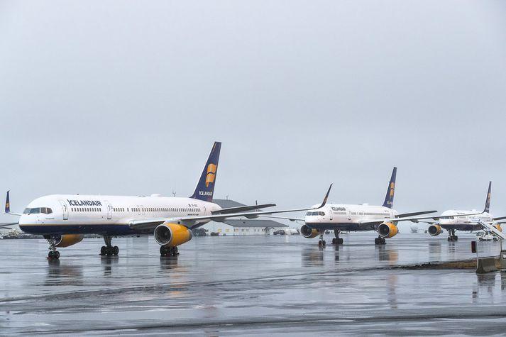Þotum Icelandair var lagt einni af annarri í verkfalli flugvirkja fyrir jól.