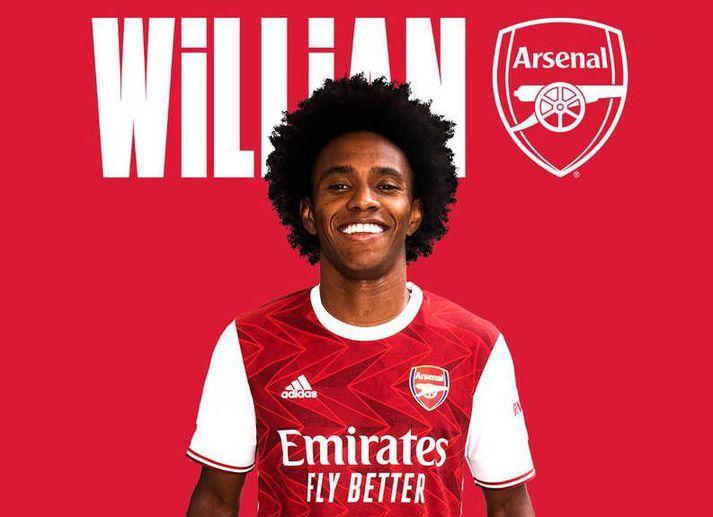 Willian í búningi Arsenal á heimasíðu félagsins.