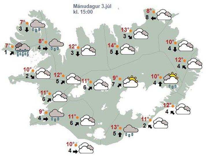 Spákort Veðurstofunnar fyrir morgundaginn.