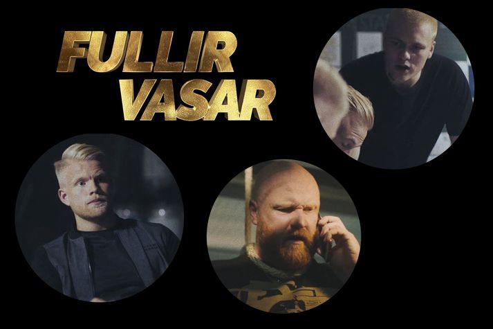 Aron Már, Hálmar Örn, Egill Ploder og Nökkvi Fjalar ætla sér að ræna banka í kvikmyndinni Fullir Vasar.