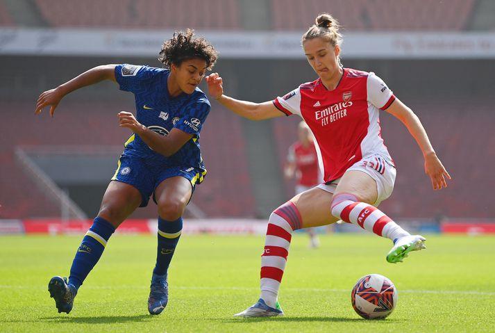 Vivianne Miedema skoraði fyrsta mark Arsenal í dag.