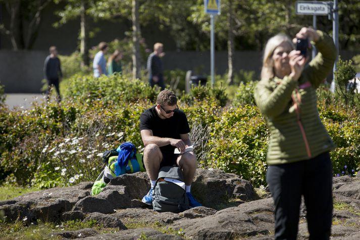 Erlendir ferðamenn sem sóttu Ísland heim í maí voru heppnir með veður.