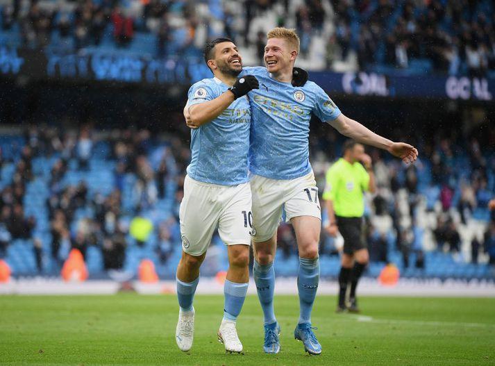 Aguero lék sinn síðasta leik á Etihad-vellinum í litum Manchester City í dag.