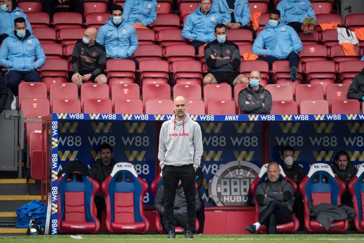 Pep Guardiola og lærisveinar hans hjá Manchester City þurfa aðeins tvö stig úr seinustu fjórum leikjum sínum til að tryggja Englandsmeistaratitilinn.