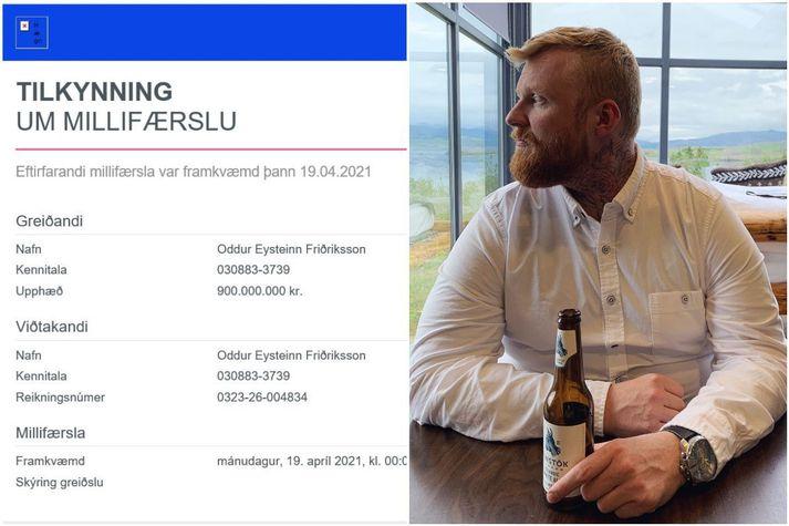 Oddur Eysteinn veltir því nú fyrir sér hvað hann getur gert fyrir 900 milljónir króna. Sem er eflaust eitt og annað.