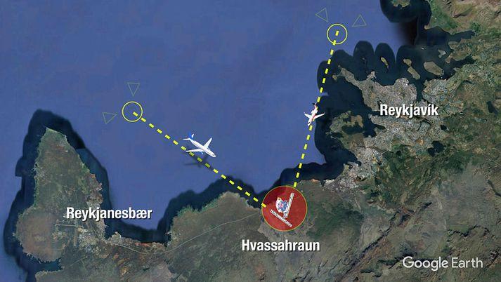 Aðflugsferlar yfir Faxaflóa, miðað við hugmynd ráðgjafanna Goldberg Partners um legu flugbrauta.
