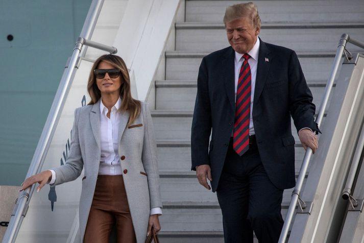 Forsetahjónin Donald og Melania Trump lentu í Helsinki í gær.