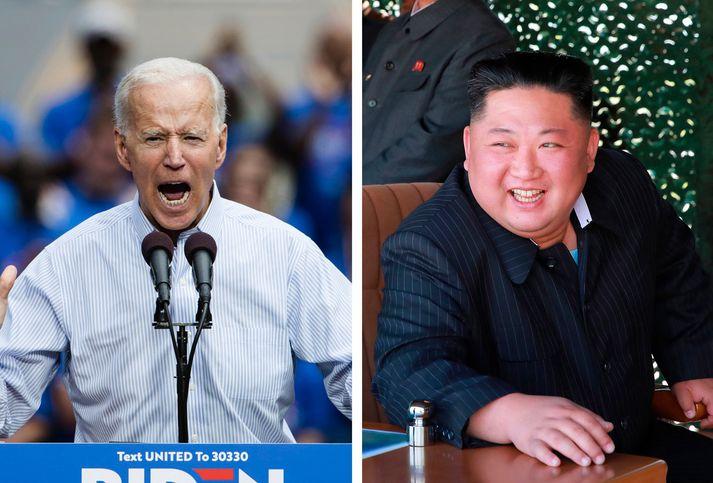 Joe Biden og Kim Jong Un.