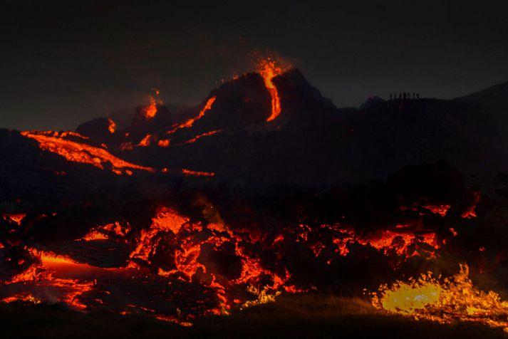 The volcano eruption in Geldingadalur.