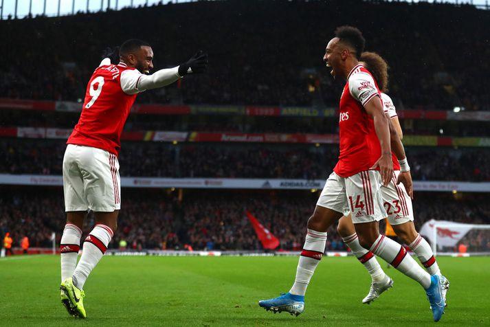 Pierre-Emerick Aubameyang fagnar marki sínu um síðustu helgi með félögunum í Arsenal-liðinu.