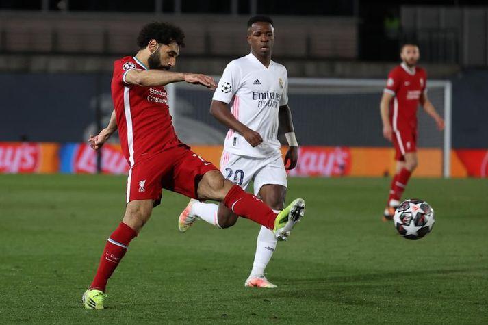 Mohamed Salah skoraði í fyrri leiknum gegn Real Madrid og það mark gaf Liverpool von fyrir seinni leikinn.