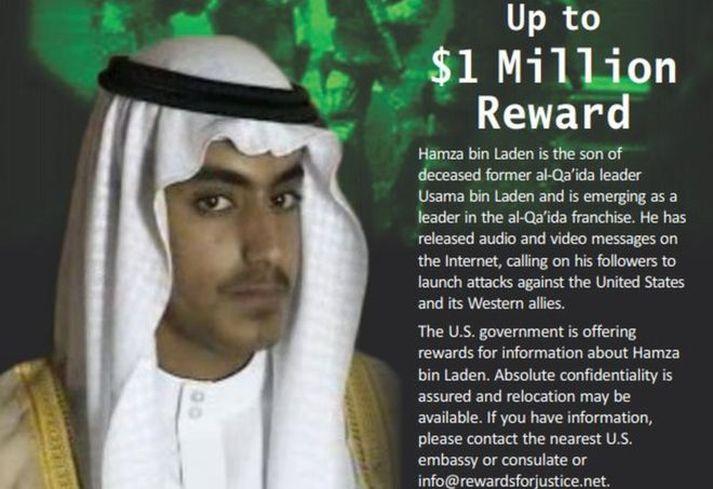 Bandaríkjastjórn hafði áður sett eina milljón bandaríkjadala til höfuðs Hamza bin Laden.