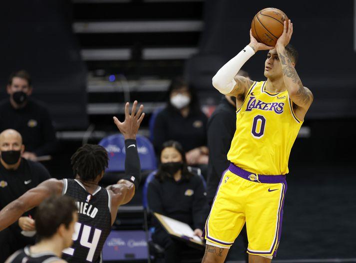 Kyle Kuzma tryggði Lakers sigurinn í nótt.