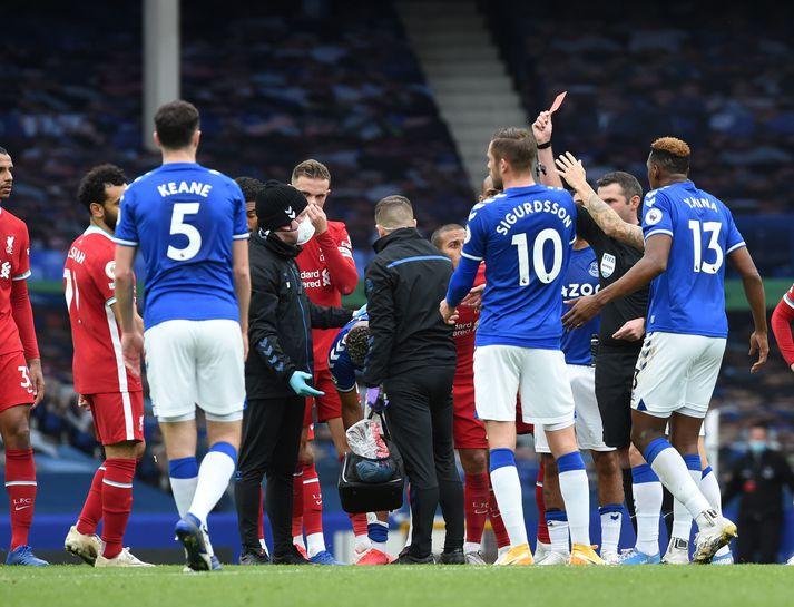 Það var nóg af umdeildum atvikum í leik Everton og Liverpool.