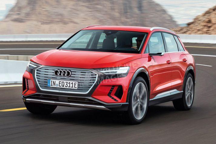 Audi hefur nú þegar sent frá sér þessa mynd af tilvonadi rafmagnsjepplingi.