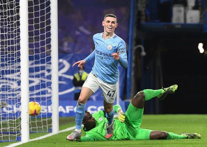 Phil Foden og félagar í Manchester City unnu 3-1 gegn Chelsea í deildarleik í janúar, skömmu áður en Thomas Tuchel tók við Chelsea af Frank Lampard.