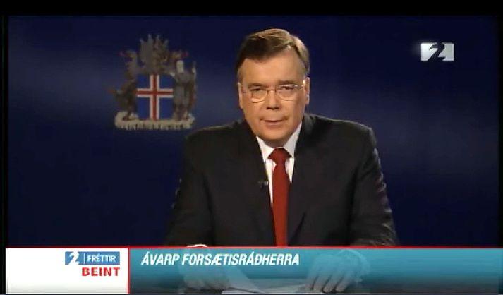 Geir flutti þjóðinni minnisstætt ávarp þann 6. október 2008.