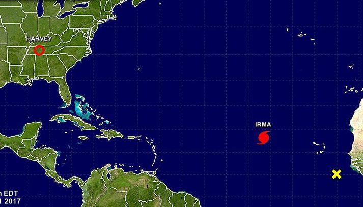 Irma er á vesturleið yfir Atlantshafið.