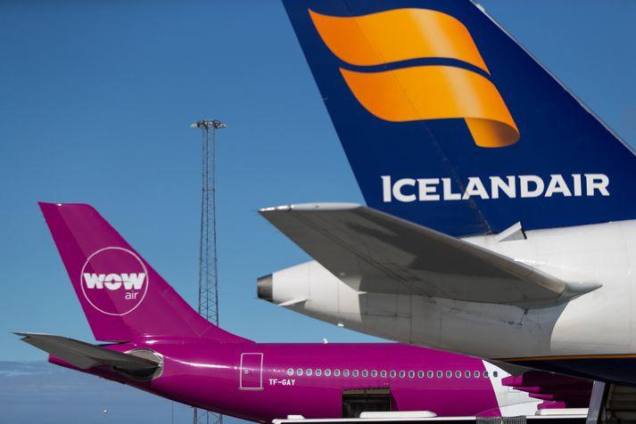 Icelandair og Wow air fengu flestar losunarheimildir í fyrra. Wow air gerði ekki upp heimildir sínar vegna gjaldþrots félagsins í lok mars.