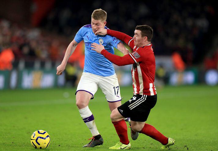 De Bruyne í leiknum gegn Sheffield United fyrr í kvöld.