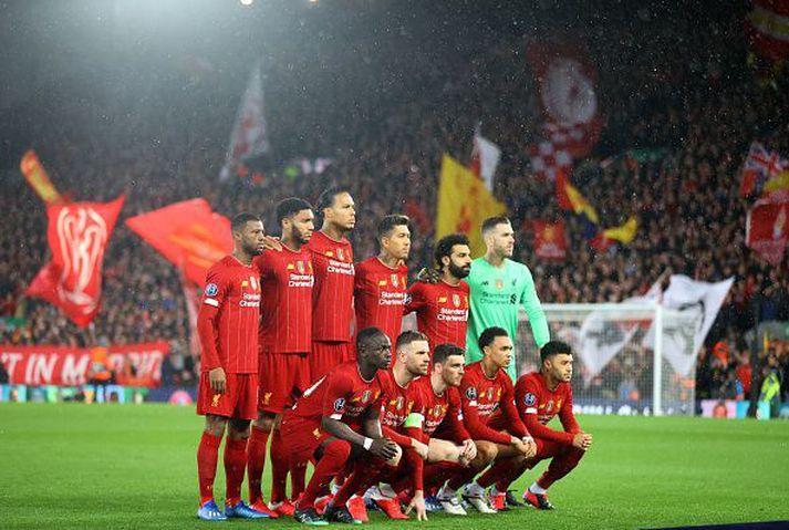 Liðsmynd hjá Liverpool fyrir leikinn gegn Atletico Madrid í Meistaradeildinni þar sem liðið datt úr leik.