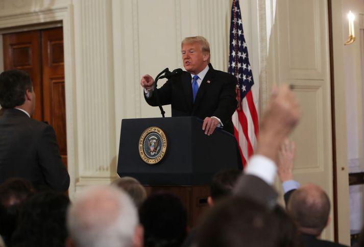 Donald Trump var ekki sáttur við Jim Acosta, fréttamann CNN.