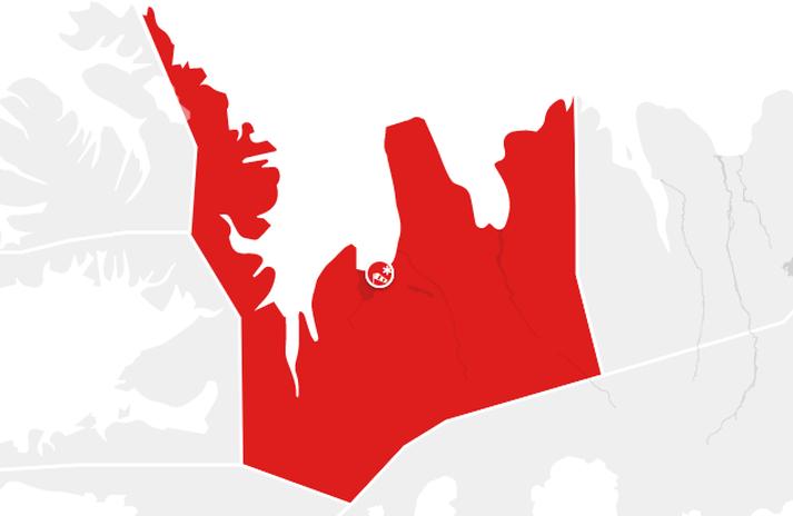 Rauð viðvörun er í gildi fyrir Norðurland vestra og Strandir.