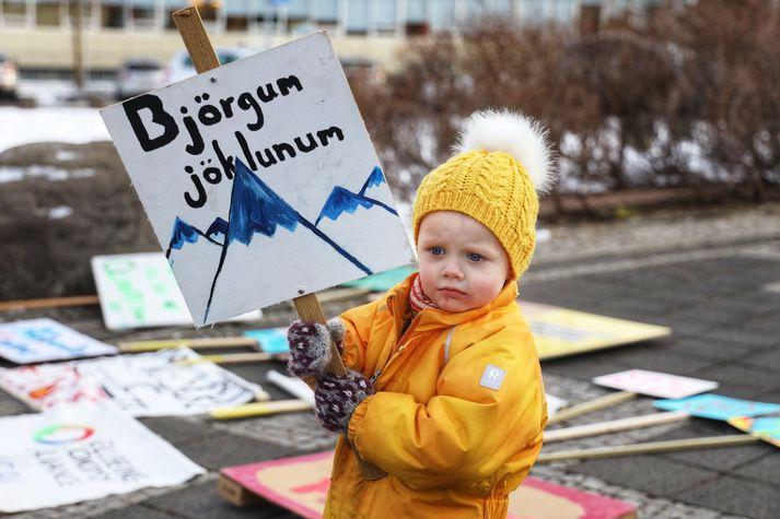Björgum jöklunum voru skilaboð þessa mótmælanda við Hallgrímskirkju í dag.