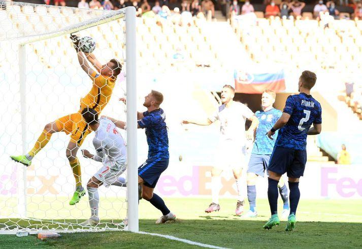 Martin Dubravka skoraði afar slysalegt sjálfsmark þegar Spánn komst í 1-0.