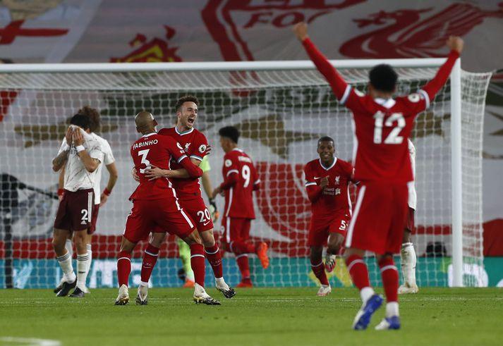 Leikmenn Liverpool fagna marki Diego Jota í kvöld.