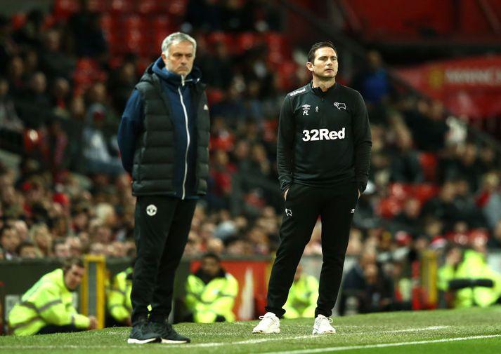 Jose Mourinho og Frank Lampard mættust með lið sín, Manchester United og Derby County, síðasta vetur
