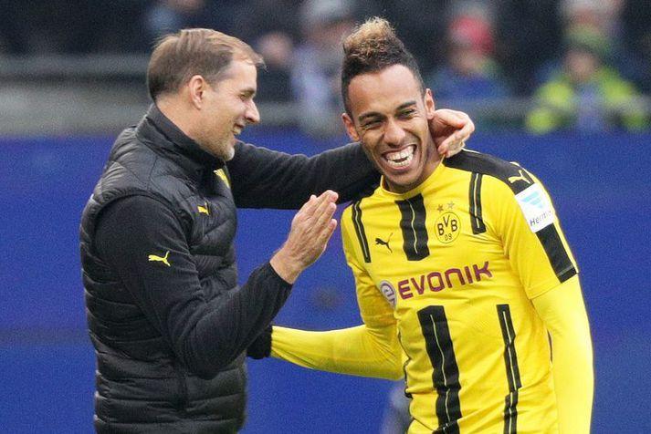 Thomas Tuchel og Pierre-Emerick Aubameyang frá tíma þeirra saman hjá Dortmund.