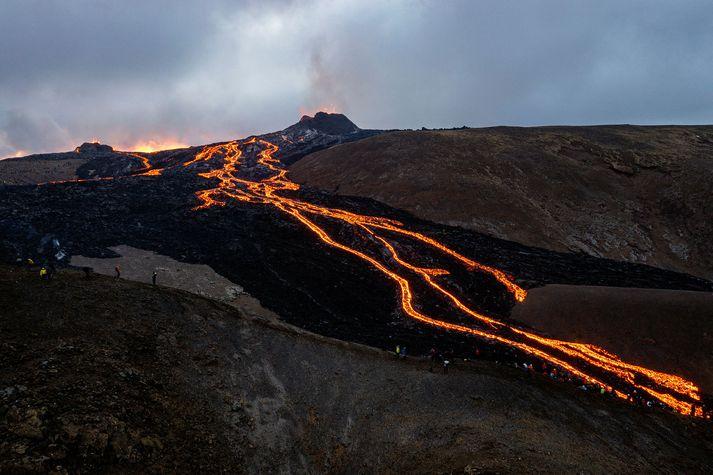 Frá gosstöðvunum við Fagradalsfjall. Jarðskjálftinn í kvöld varð skammt frá fjallinu Þorbirni, sem er í grennd við gosstöðvarnar og Grindavík.