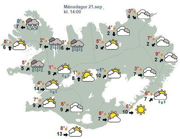 Sums staðar á norðanverðu landinu má búast við éljum.