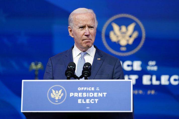 Joe Biden var ómyrkur í máli í ávarpi sínu.