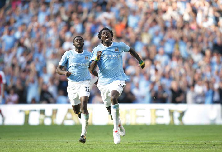 Adebayor hefur sennilega aldrei hlaupið jafn hratt og þegar hann fagnaði gegn Arsenal.