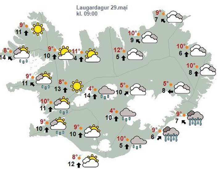 Áfram veðrur skýjað og rigning á Suður- og Vesturlandi en bjartviðri og þurrt á Norður- og Austurlandi.