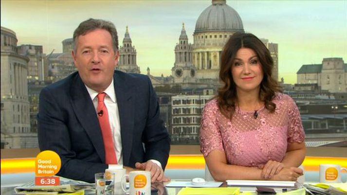Piers Morgan og Susanna Reid á ITV í morgun.